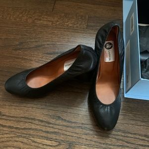Black Lanvin leather wedges